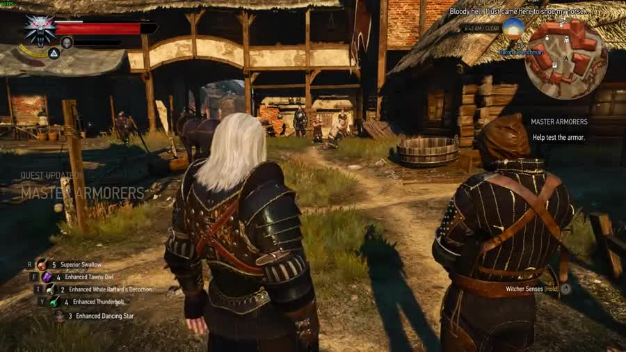 """""""Local men are ing invincible"""". IIRC they changed the way bolts fly in a patch, and it improved screwed up this cutscene... Did that dumb sunovabitch just shoot him in the head and then miss Geralt?"""