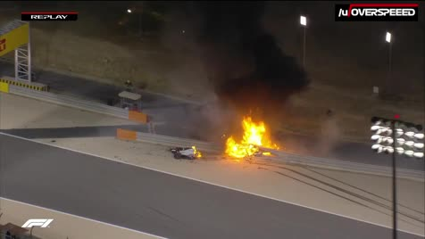 Grosjean massive Bahrain crash. Romain Grosjean is in stable condition with minor burns and suspected broken ribs... Oh jesus he lived after being litterally exploded. Thats good to hear.