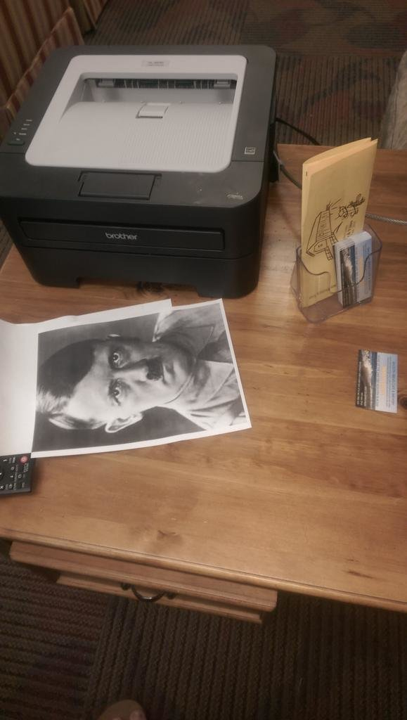 . I found a picture of Hitler in the game room at the hotel I work in. Someone just printed it and left it there..