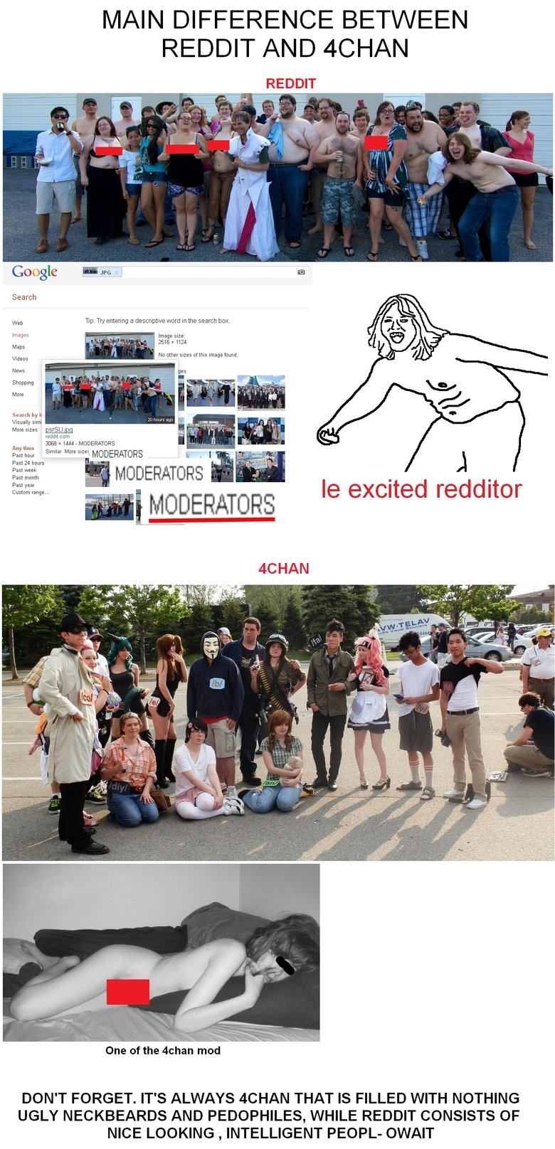 "4chan vs Reddit. I hope this won't get deleted again, boobies ain't visible. MAIN DIFFERENCE BETWEEN REDDIT AND YCHAN REDDIT Google we 'r is Sm/ M ""I MODERATORS"