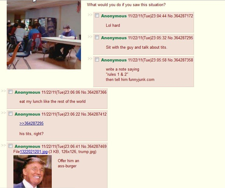 4chan. Full of terrible odd rage inducing nice people. What would you dd if you saw this situation? Cl Anonymous 11/ ( Tue) Lol hard Cl Anonymous 11/ ( Tue) 23: