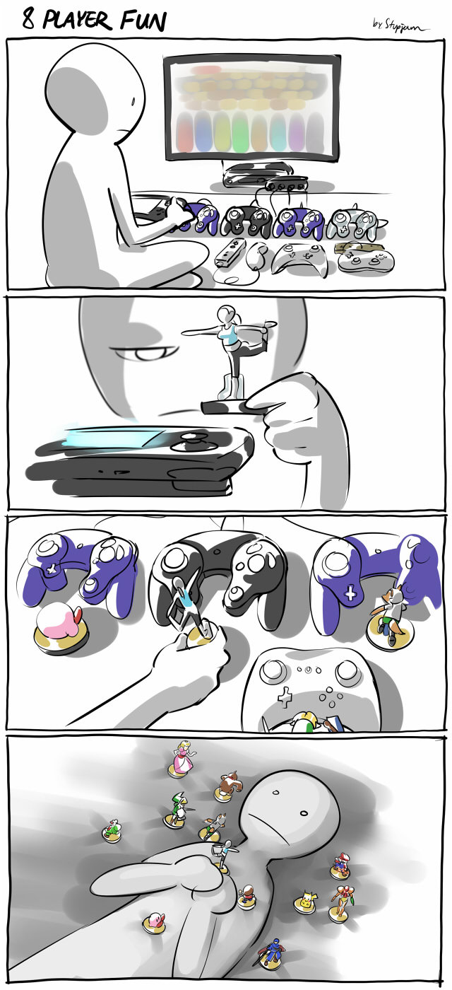 8-player Smash for every FJ user.. .. They actually said one of the reasons for amiibo was to help solo players feel less lonely