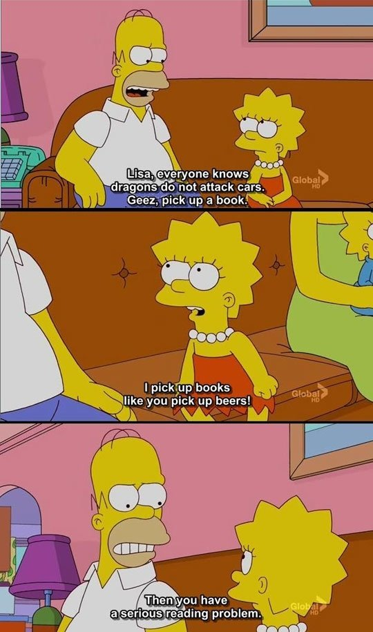 99 problems but a book aint one. sewallman.. my favourie simpsons quote.... however quoting the whole series is gay, so no vote
