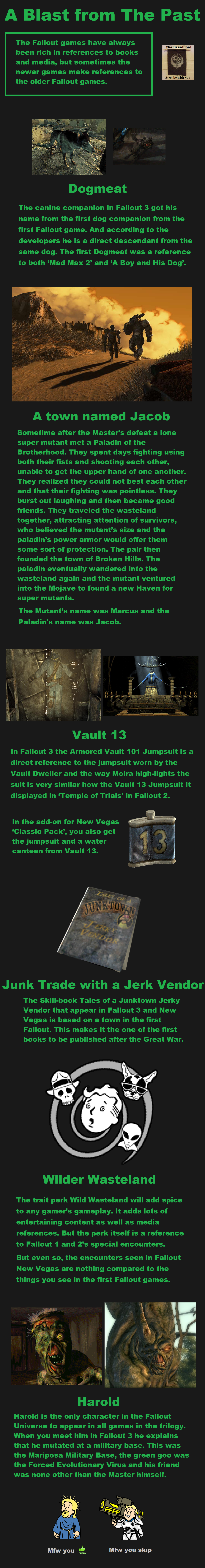 A blast from the past. Here I have assembled a fact comp for those of you who haven't played the first fallout games. Basically listing the references to you. A
