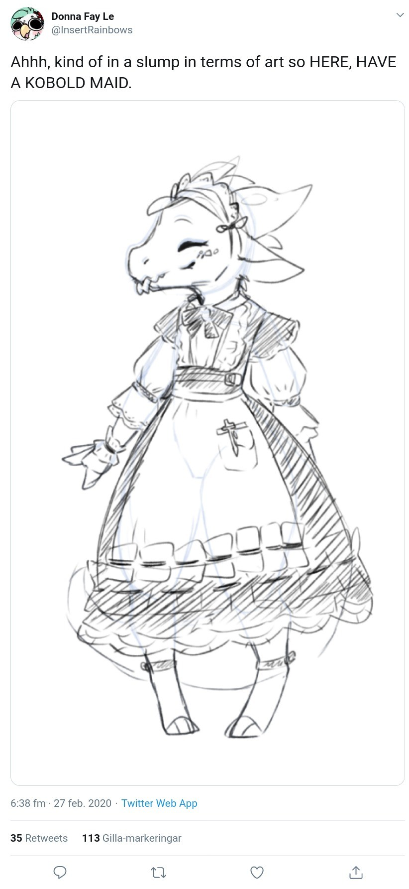A 'Bold Maid.. .. She does not know what a maid is, but she thinks the dress is pretty. You try to explain the concept of housekeeping, but when left alone she rearranges the fur