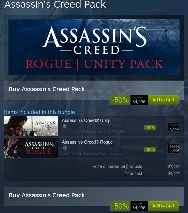 A Good Deal. . Assassin' s Creed Pack CREEDY-. Buy Assassin' s Creed Pack Buy Assassin' s Creed Pack. so nobody is going to notice that the price of the pack is more expensive then the price of the individual games screw it, I'll just be solely consumer on this