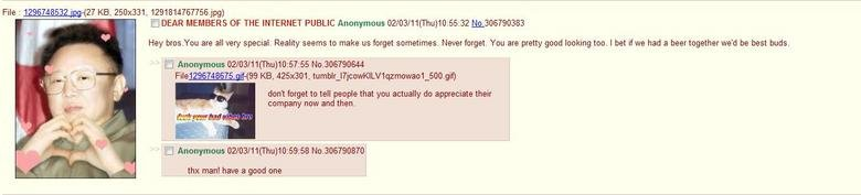 Admin on 4chan. Wut?. DEAR MEMBERS OF THE INTERNET PUBLIC Anonymous (/ ( Thu) 10: Hey are all very special. Reality seems to make us ( are pretty good looking t