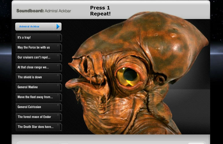 Admiral Ackbar Soundboard. Go here --> Fixed link.. rltk Admiral ' admiral .ll. elkaar , It' s a trap! May the Fares be with us Our cruisers ean' t repel...