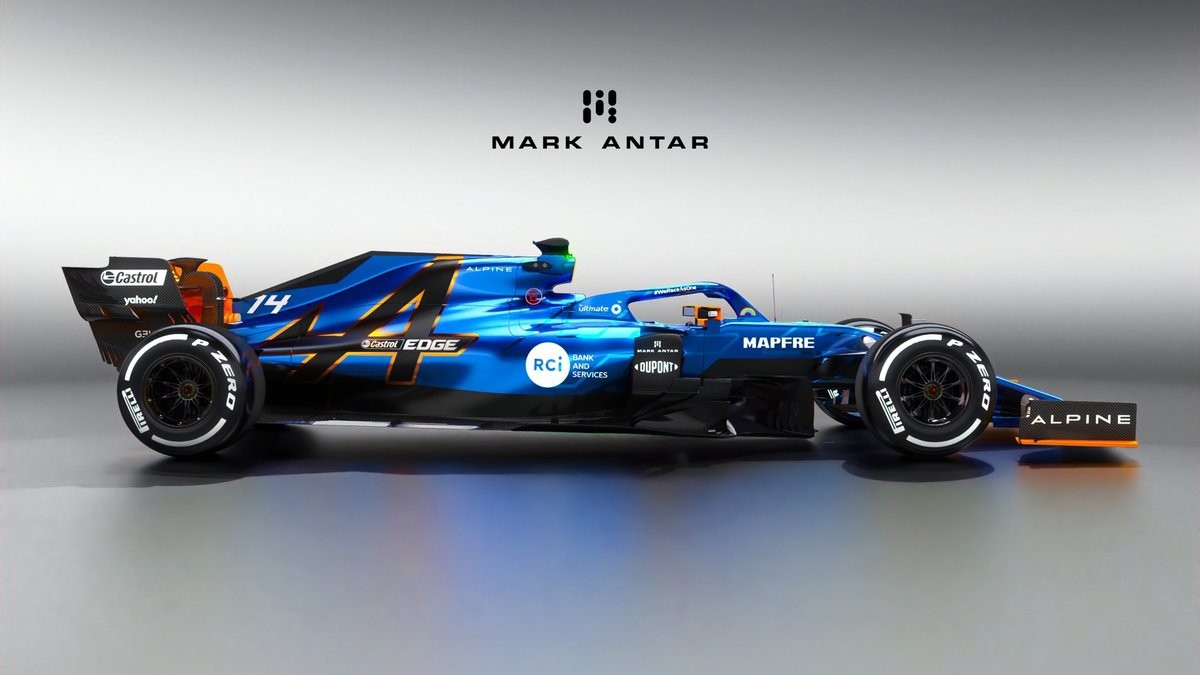 Alpine F1 Concept Liveries by Mark Antar. join list: Motorsports (188 subs)Mention History.. Like the tricolor one much more. First one looks like a McLaren alt-skin.