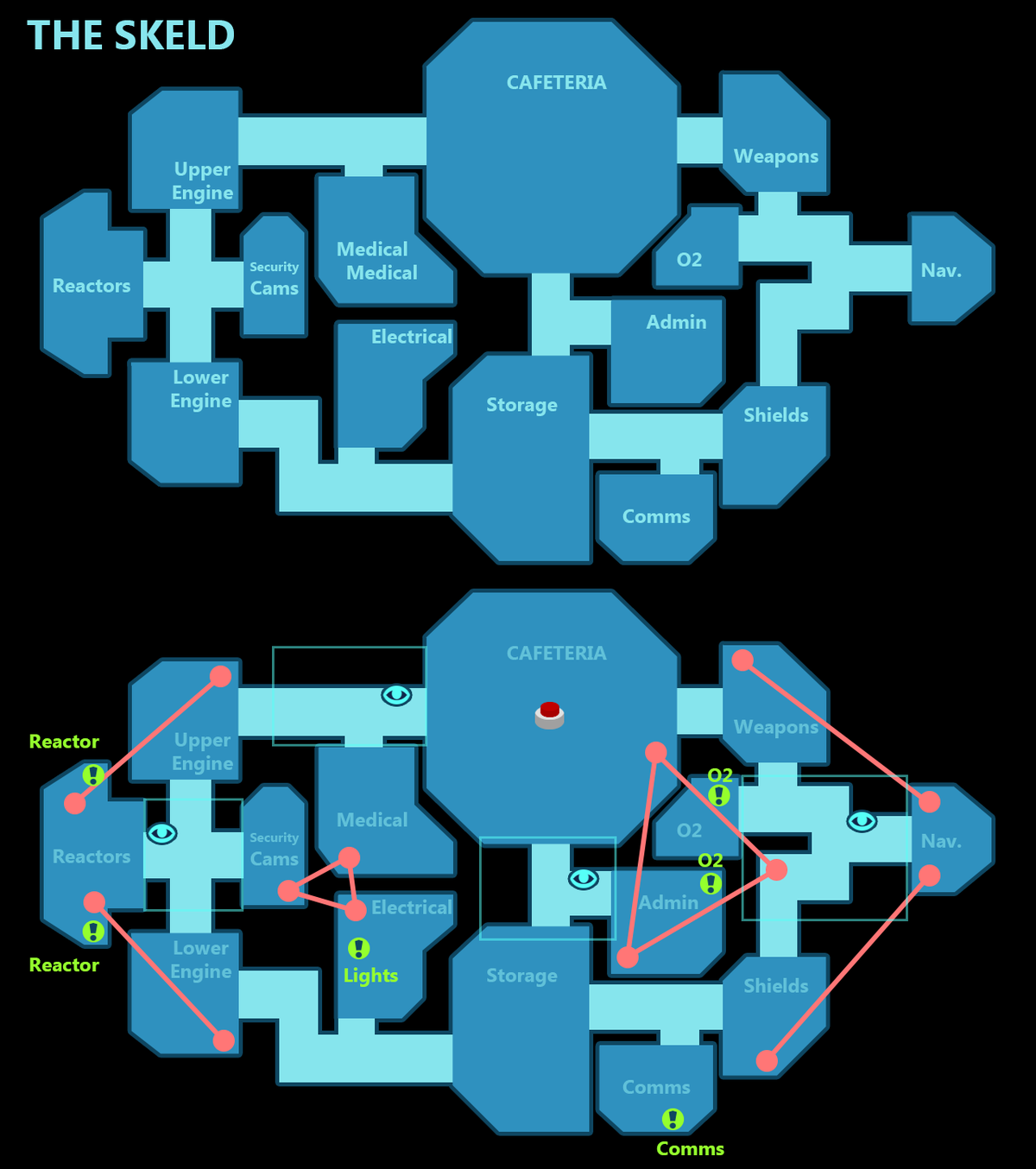 Among Us - Map layouts. Figured I should make some maps for the new players, since the layouts are confusing at first. Orange indicates vents Cyan rectangles in