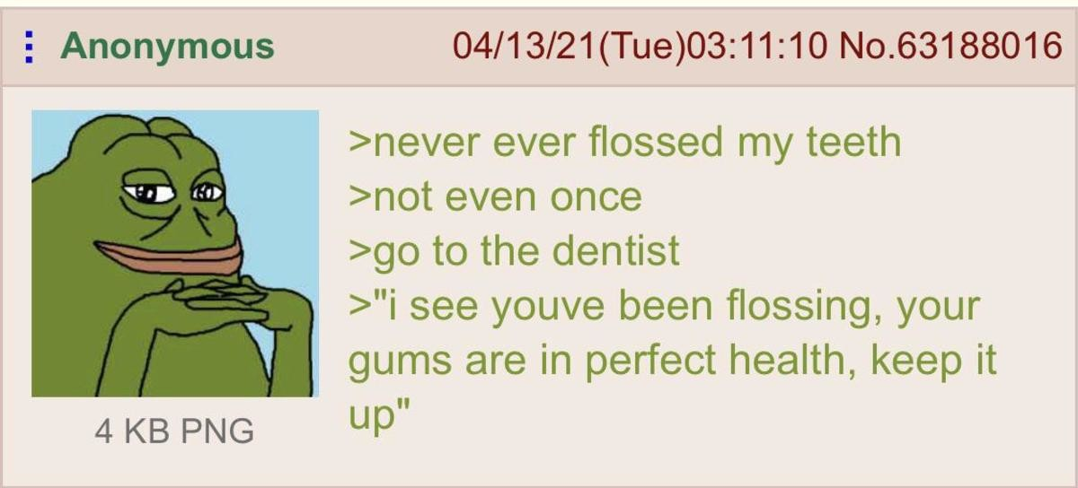 "Anon goes to the Dentist. .. My dentist tried flossing me and nothing happened ""your gums seem healthy"" and i guess that left him unsatisfied because he took out some weird sticks"