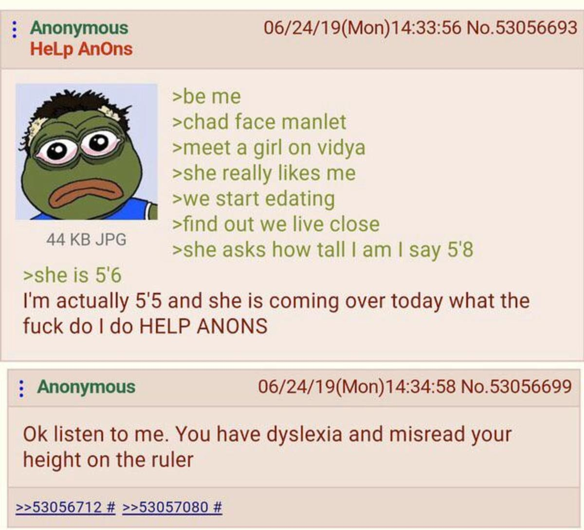 Anon is a Manlet. .. Just? Don't lie? Why are y'all so concerned about height? Morons. The only girls who care about height are just as dumb as the guys who fret about it.