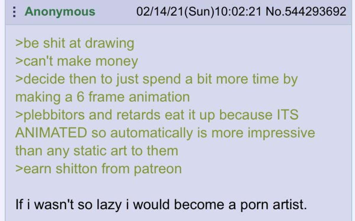 Anon is an Artist. .. I've considered doing it in blender for a really long time... some of the animations in are just... so bad, just objectively terrible. But people still love the