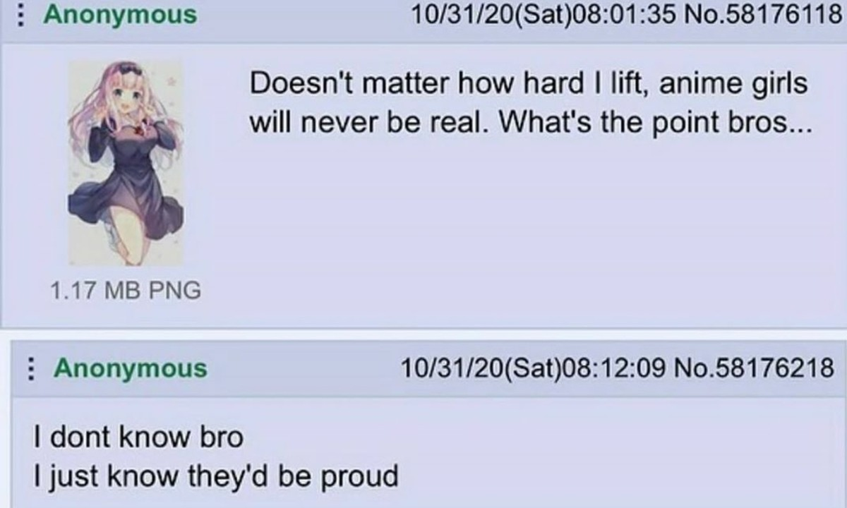 Anon Lifts but Why?. .. i must work as hard as my waifu