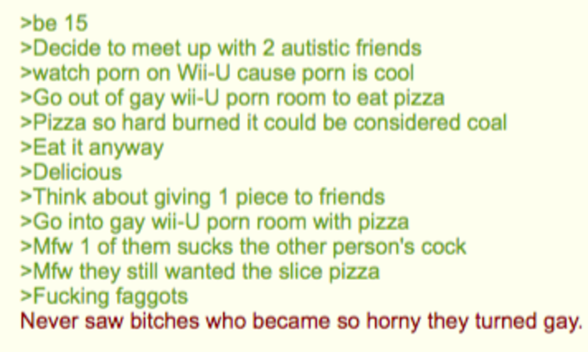 Anon Plays the Wii U. .. This is actually a theory of mine (intuitively it might be real though). That people become gay if they have -100% chance with a woman and they're horny enough.