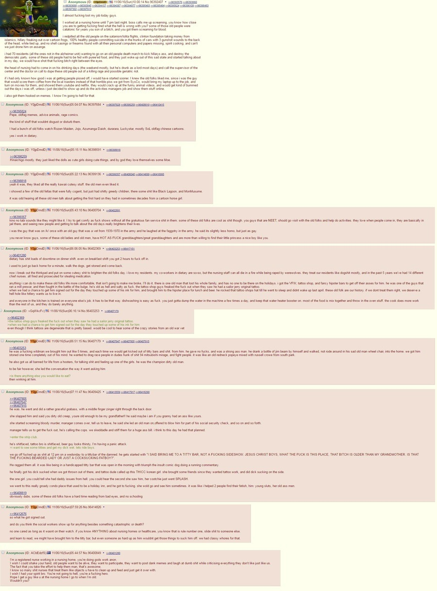 Anon redpills the elderly. .. God bless that anon. Even if it's a lie, it's nicely told.