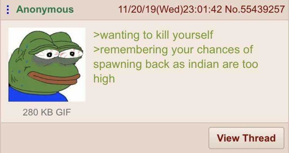 Anon wants to Die. .. >be me >kill myself >respawn as chinese >die of coronavirus >respawn as chinese