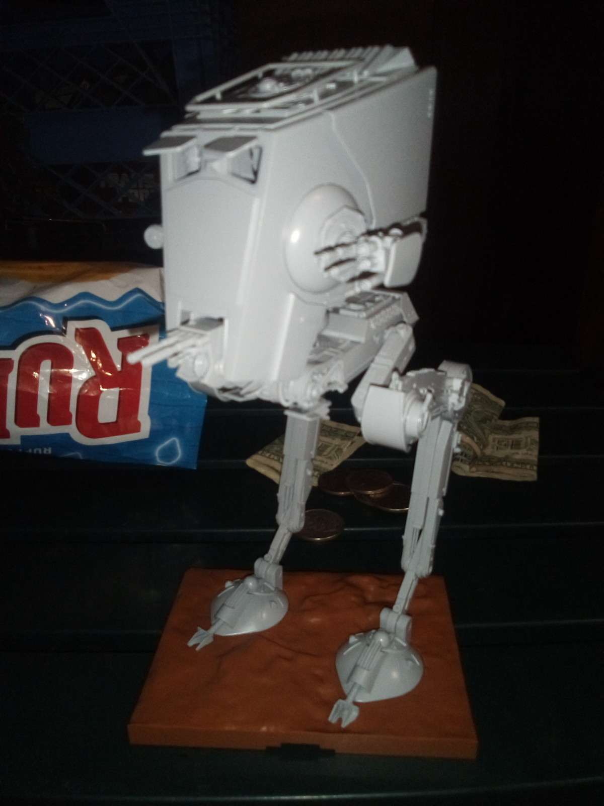 At-st model. 30 pieces for each leg, 22 for neck & torso, 48 for head and guns... https://www.bigbadtoystore.com/Product/VariationDetails/42393
