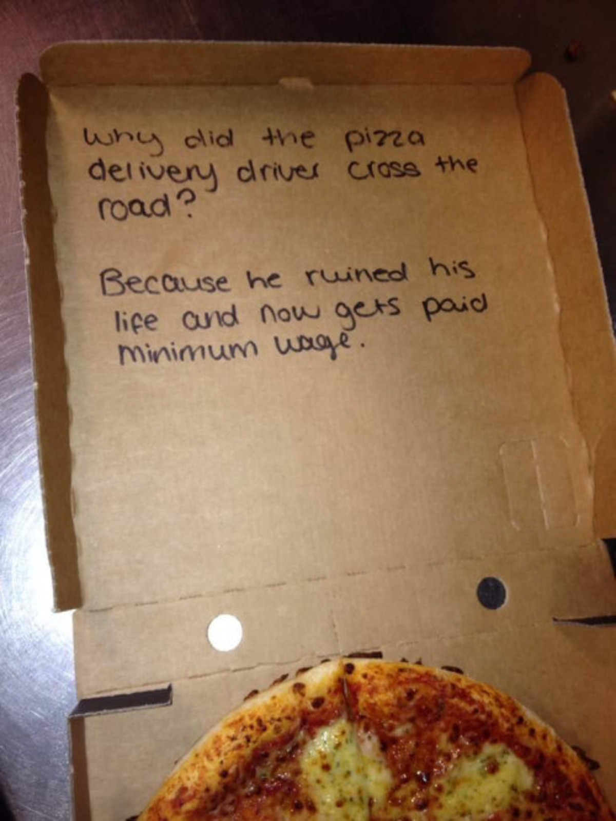 auious functional Cobra. .. handwriting is too feminine to be a guy, the girl who ordered pizza wrote that