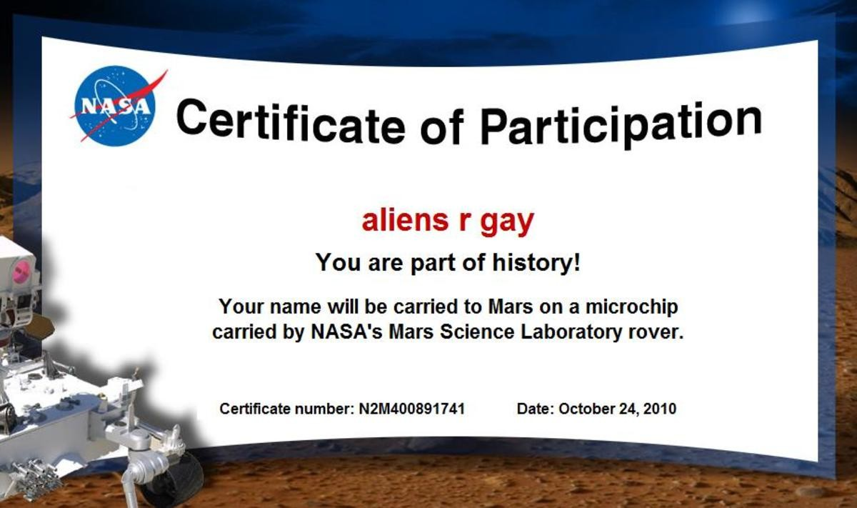 Ayy. join list: TheNooter (163 subs)Mention History. aliens r gay You are part of history! Your name will be carried to Mars on a microchip carried by NASA' s M