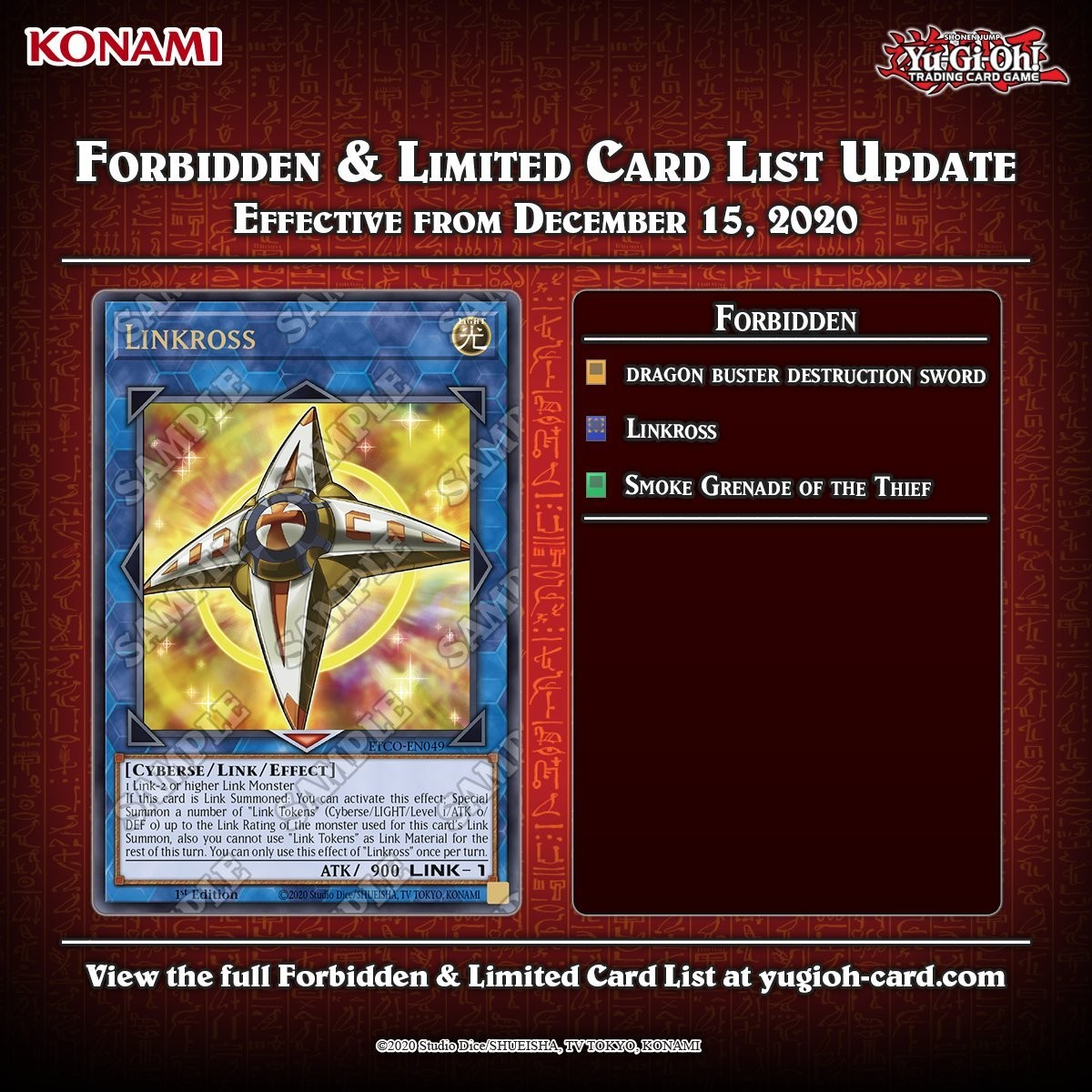 """Banlist: Effective 12/15/20. Good. all of these cards. Now """"all"""" we need is True King of All Calamities (and Zexal) and we'll be getting to there. Whe"""