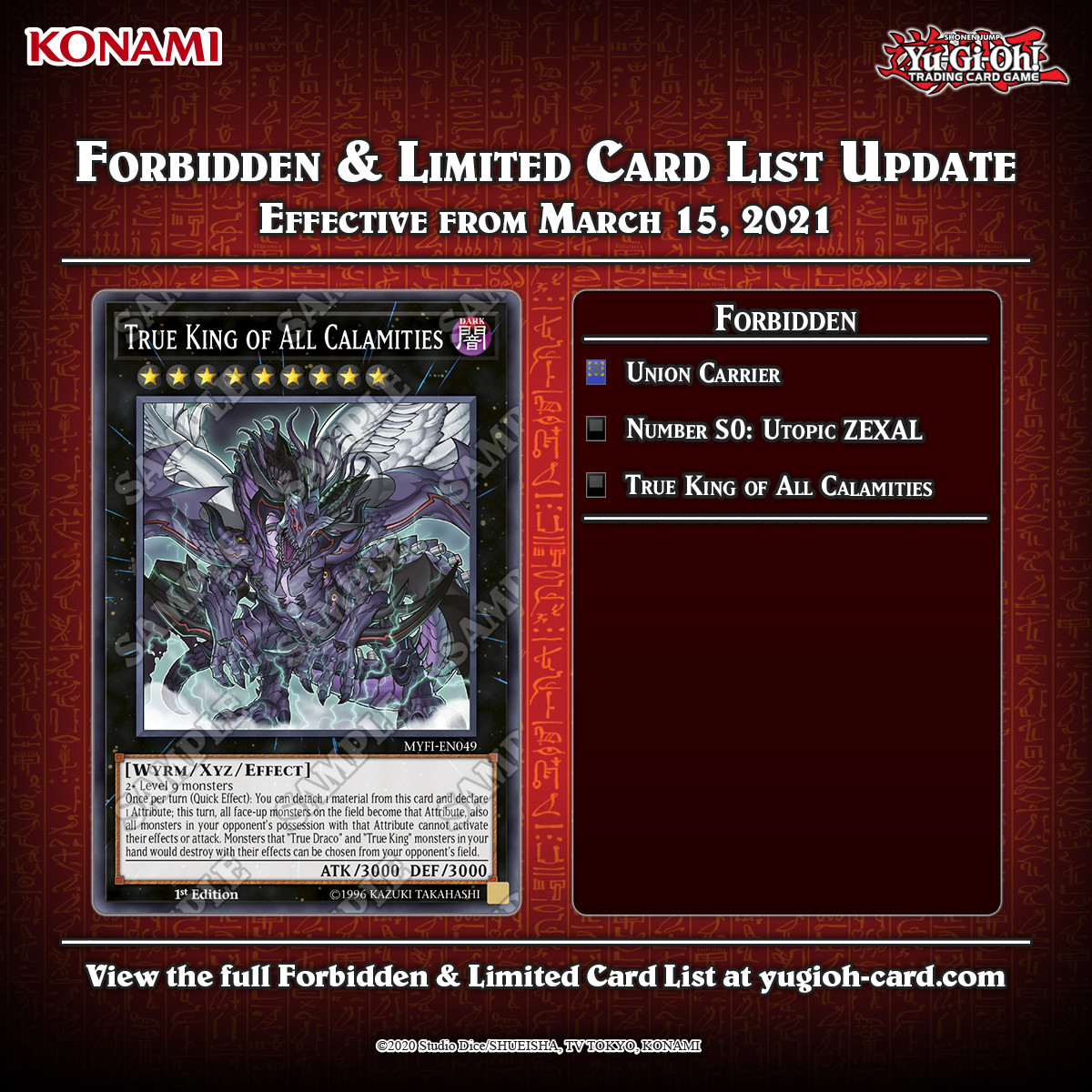 Banlist. Good, Good Union Carrier is a bit weird, but not unwarranted BUT WHERE THE IS DRAGOON Fun fact, Cyber Angel Benten is currently the only ritual monster