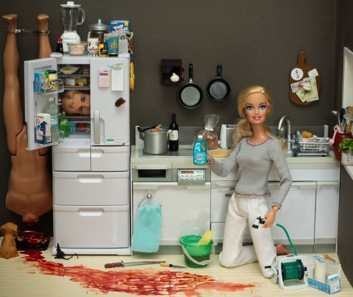 Barbie. Bleach for those tough stains... at least she's still in the kitchen
