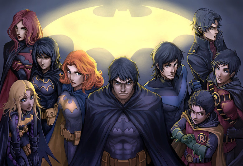 Bat Family. .. This picture is cool, but it has a horrible case of sameface... This is one thing that bugs me about anime styled drawing.