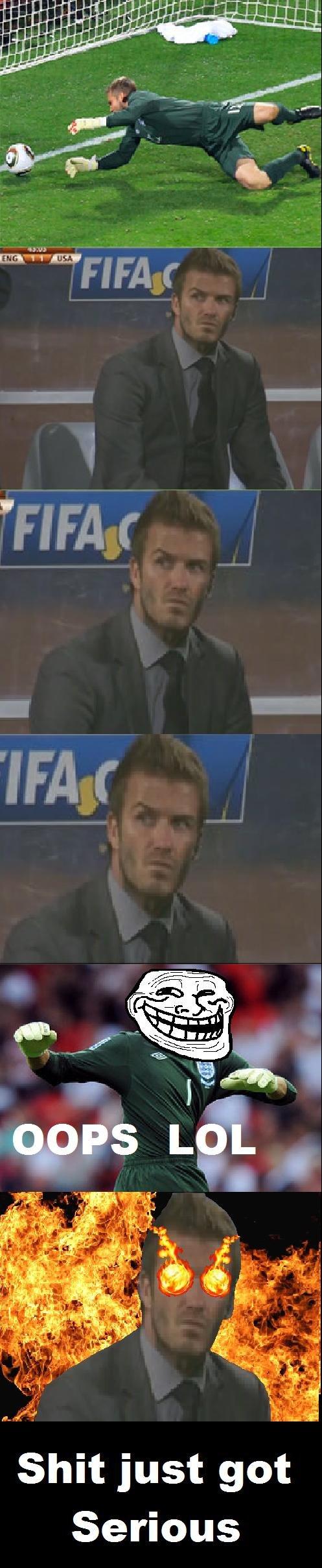 "Beckham's Rage. Run Rob Green! RUN!. just got nous Shi Seri. i lol'd at the ""oops lol"" frame. XD"