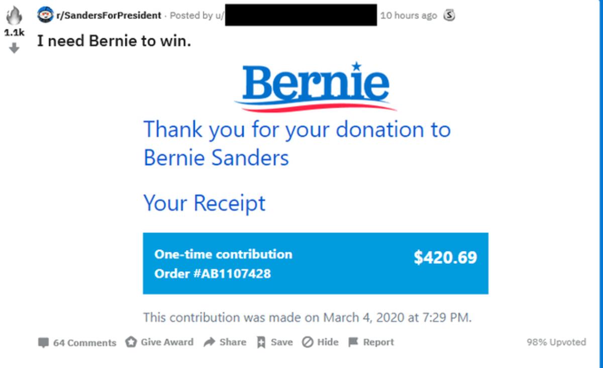 Bernie donation. .. Nice