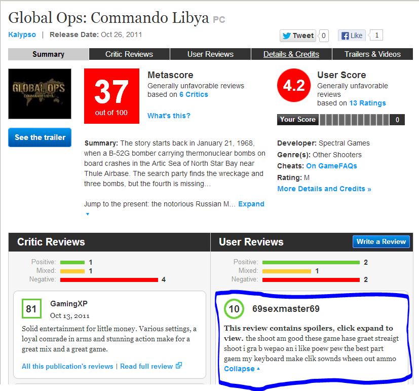 Best Review Ever. TnXqwSnG bidroop.com. Global Ops: Commando Libya an Kalypso I Release Date: Oct Eli. 2011 [El 1 Summary Critic User Details it Credits Trailer