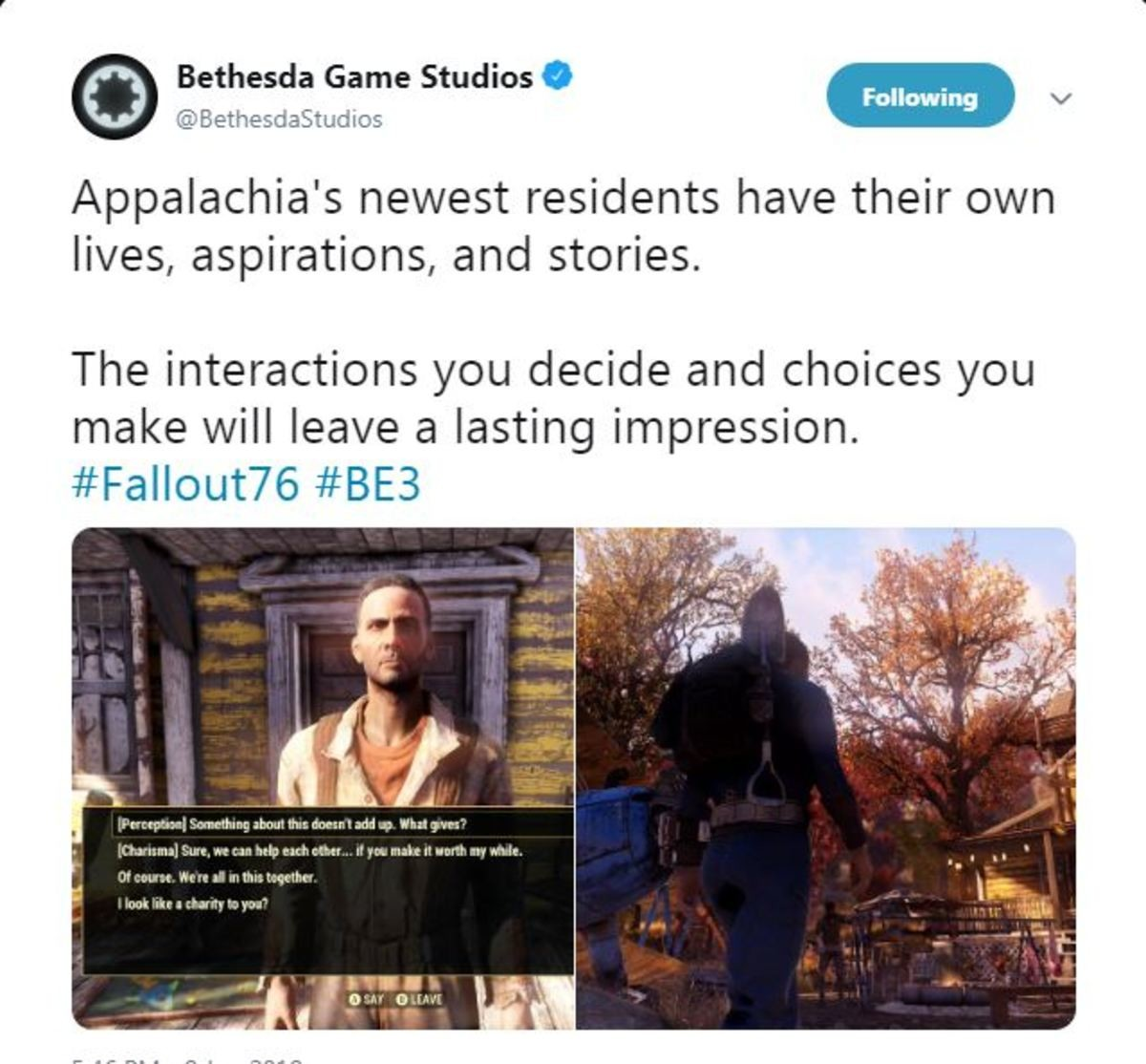 Bethesda Backs Down, Fallout 76 has NPC's now. Bethesda made a Tweet announcing that they're updating Fallout 76 now with Human NPC's. This is a correction from