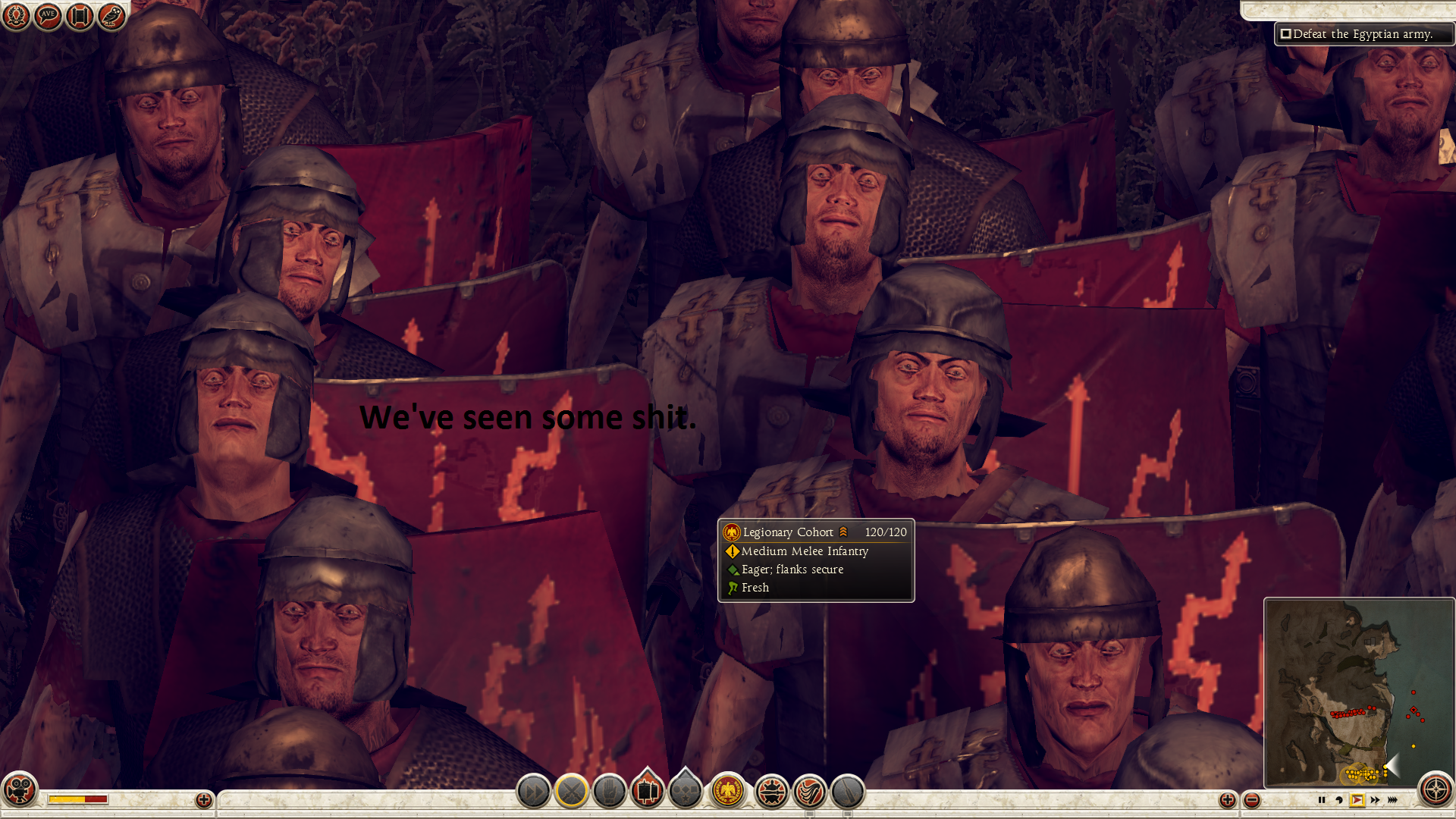 Bippidy Poppidy. Shamelessly stole from Reddit and added text, the game is total war : Rome 2. This picture entails a bunch of soldiers witnessing hitting fans.
