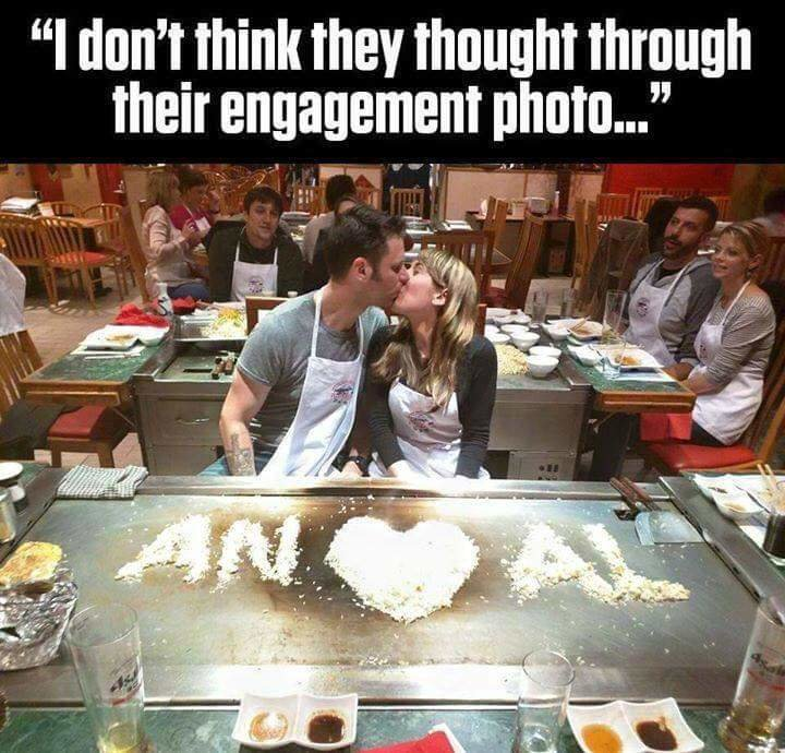 "Blah blah blah. Chocolate starfish and the hotdog flavored water. ll ' they thought through their engagement photo..."". Or did they?"