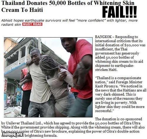 "Thailand. . Thailand Donates 50, 000 Bottles of ""tait kin Cream To Haiti FII m sauna hopes earthquake survivors new new ""more confident"" with lighter, more radi"