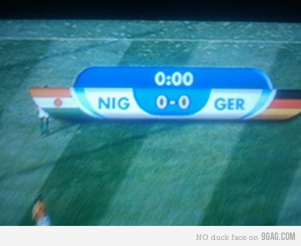.ger. racism, every thumb goes to creating jokes about it.. Nigeria versus Germany. Obvisouly the black people lose.
