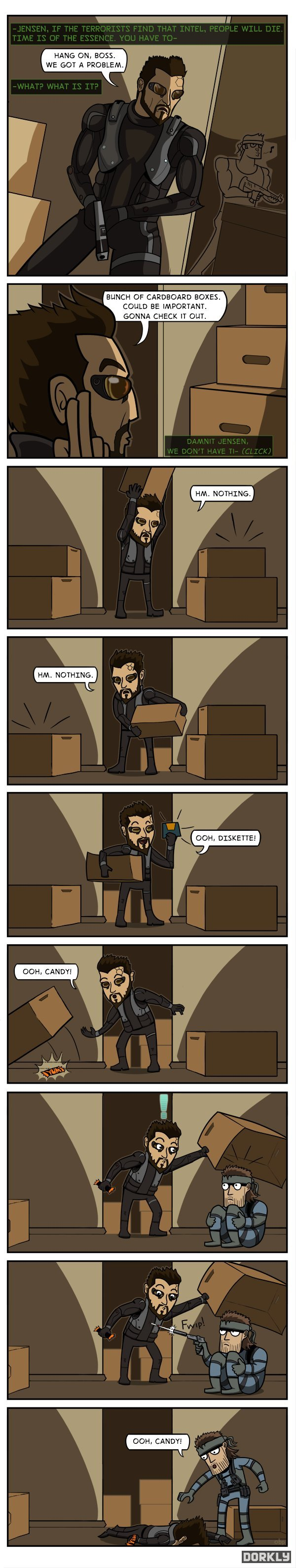 Box. credits to dorkly. HANG LAW! 3055. WE GOT A PROBLEM. BUNCH BF CARDBOARD EDI! -'.ES. COULD BE Ti% Starch% GONNA CHECK IT OUT.. - 5 SECONDS LATER - omnomnomnom...