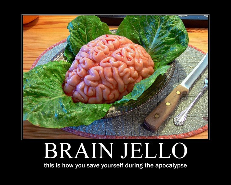 Brainjello. just a little OC I cooked up.... this is how you save yourself during the apocalypse. thats jello right?...