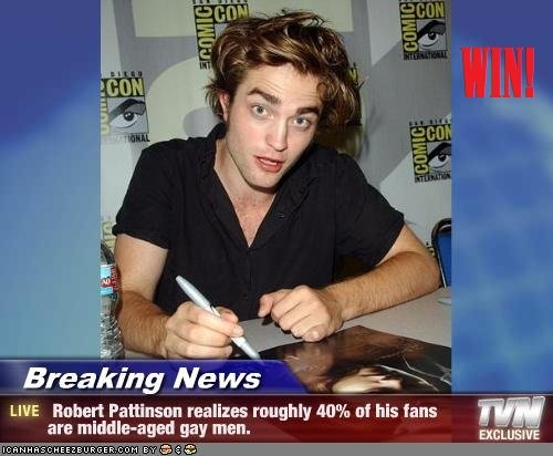BREAKING NEWS. Hehe. Breaching Mars' LIFE Hubert Pattinson realizes roughly 40% [If his fans are my man.