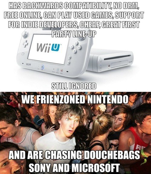 But he's a nice guy. Not to mention hd 1080p graphics, gpgpu setup, and super smash bros.. nun Tit , iil. I like everything about the Wii U/3DS. I'm just ticked that they're both region locked. So many good exclusives in Japan.