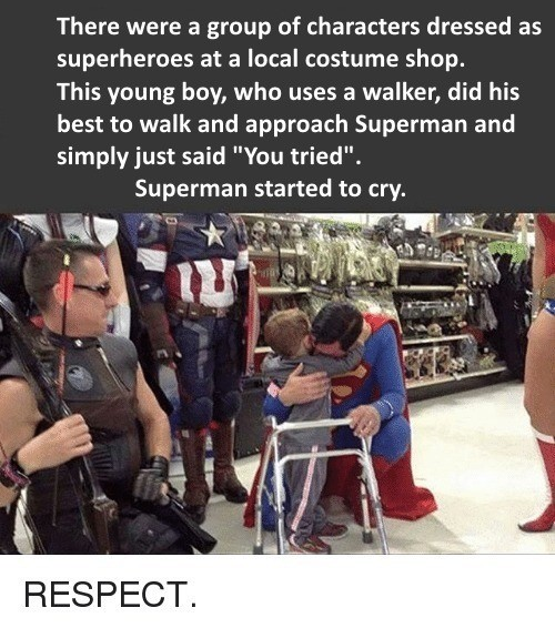 BvS. Description. There were a group of characters dressed as superheroes at a local costume shop. This young boy, who uses a walker, did his best to walk and a