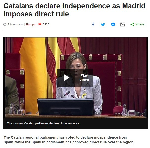 Catalans declare independence as Madrid imposes direct rule. .. Spanish Civil War 2: Electric Boogaloo