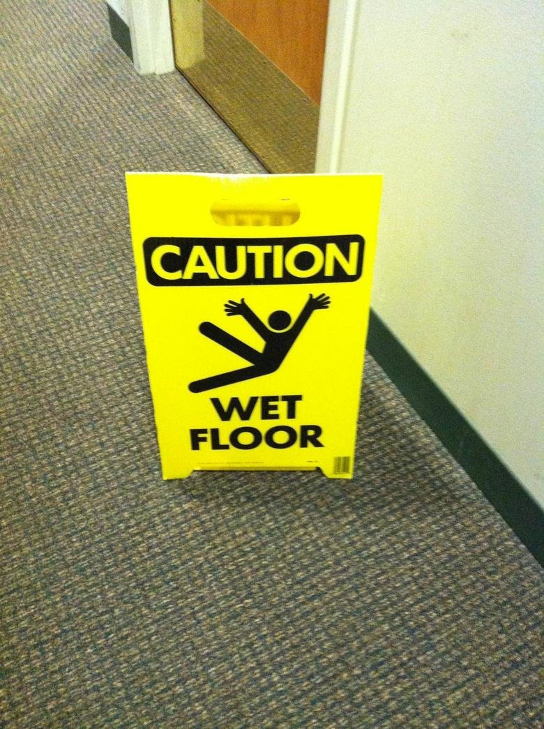 Caution, wet floor may cause jazz hands. yepp.