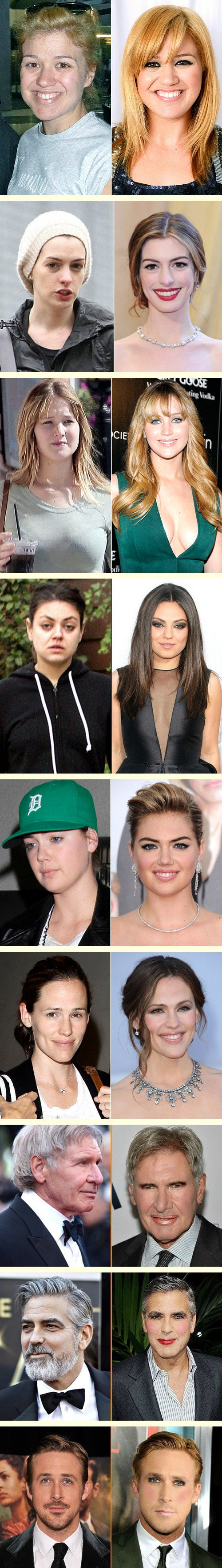 Celebs with/without makeup. .