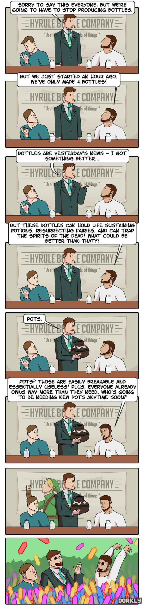 CEO knows his business outlooks. Credit to dorkly. ERR? TO SAN' THE': EVERYONE, BUT HERE GOING: TO HAVE TO STOP PRODUCING BOTTLES. BOTTLES ARE YEST' ' S NEWS -
