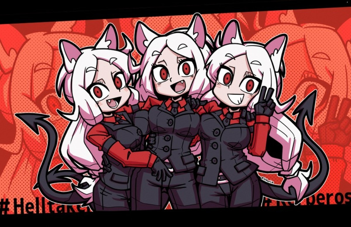 Cerberus From Helltaker. .. Are they conjoined tryplets?