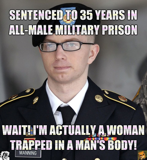 Chelsea Manning in Prison (OC). Not to worry son, they'll be treating you like a woman all right.. SENTEN[: Enj; gil 35 mus IN i; , lil. lillol PRISM Itf' L ree