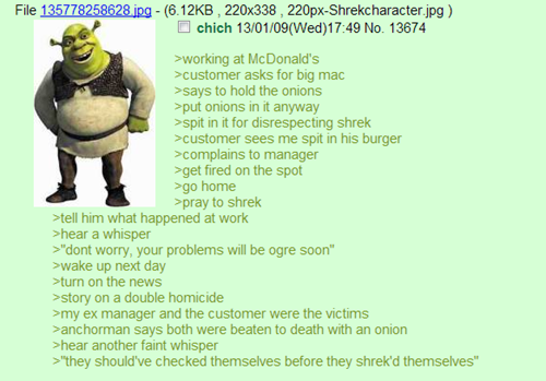 """chikidy check yourself. before you shrek yourself. shim """"( Wed) his new working at McDonald' s asks tor big mac ways to hold the unions rpm antenna In ll anyway"""