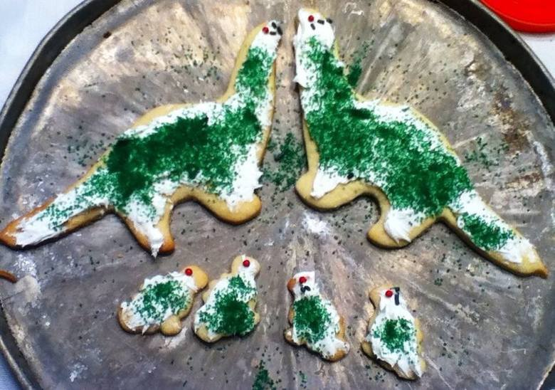Christmas Rawr. A friend of mine made some of the coolest Christmas cookies I have ever seen today. They were pretty delicious too!.