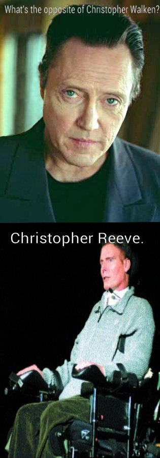 "Christopher. Not sure if the joke is a repost, but I just heard it the other day and thought I would share it.. Wnat' stle oppostie C"" '? Christopher Reeve."